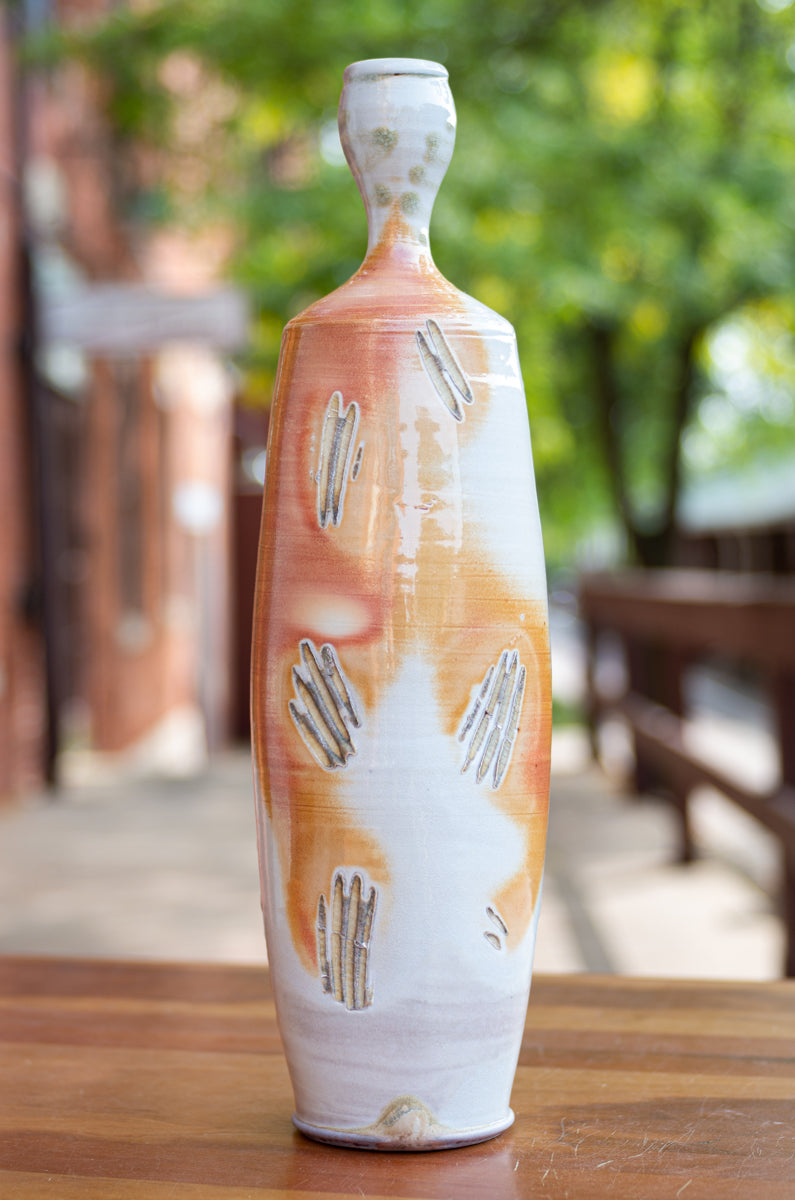 Tall Vase Side-Fired on Sea Shells