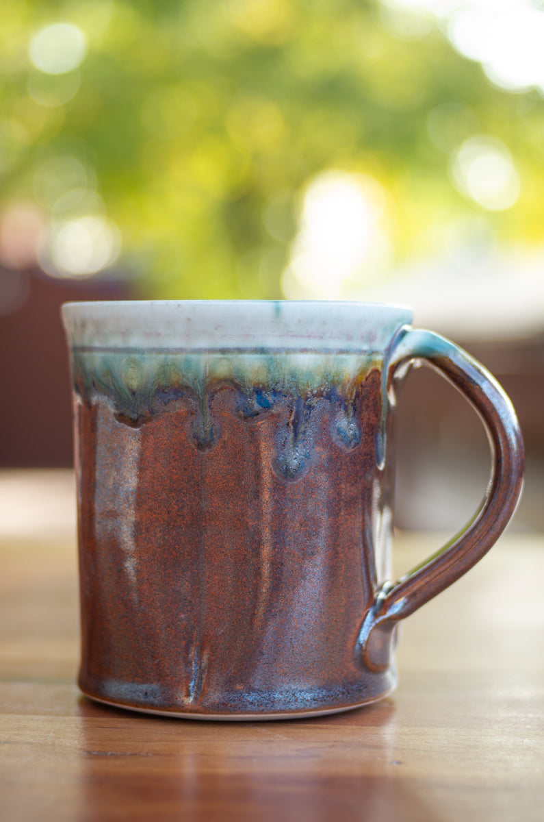Red and Turquoise Squared Mug