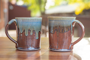 Rust Red and Breakfast Blue Squared Mug