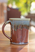 Load image into Gallery viewer, Rust Red and Breakfast Blue Squared Mug