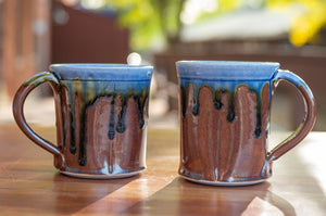 Blue Ash and Rust Red Squared Mug