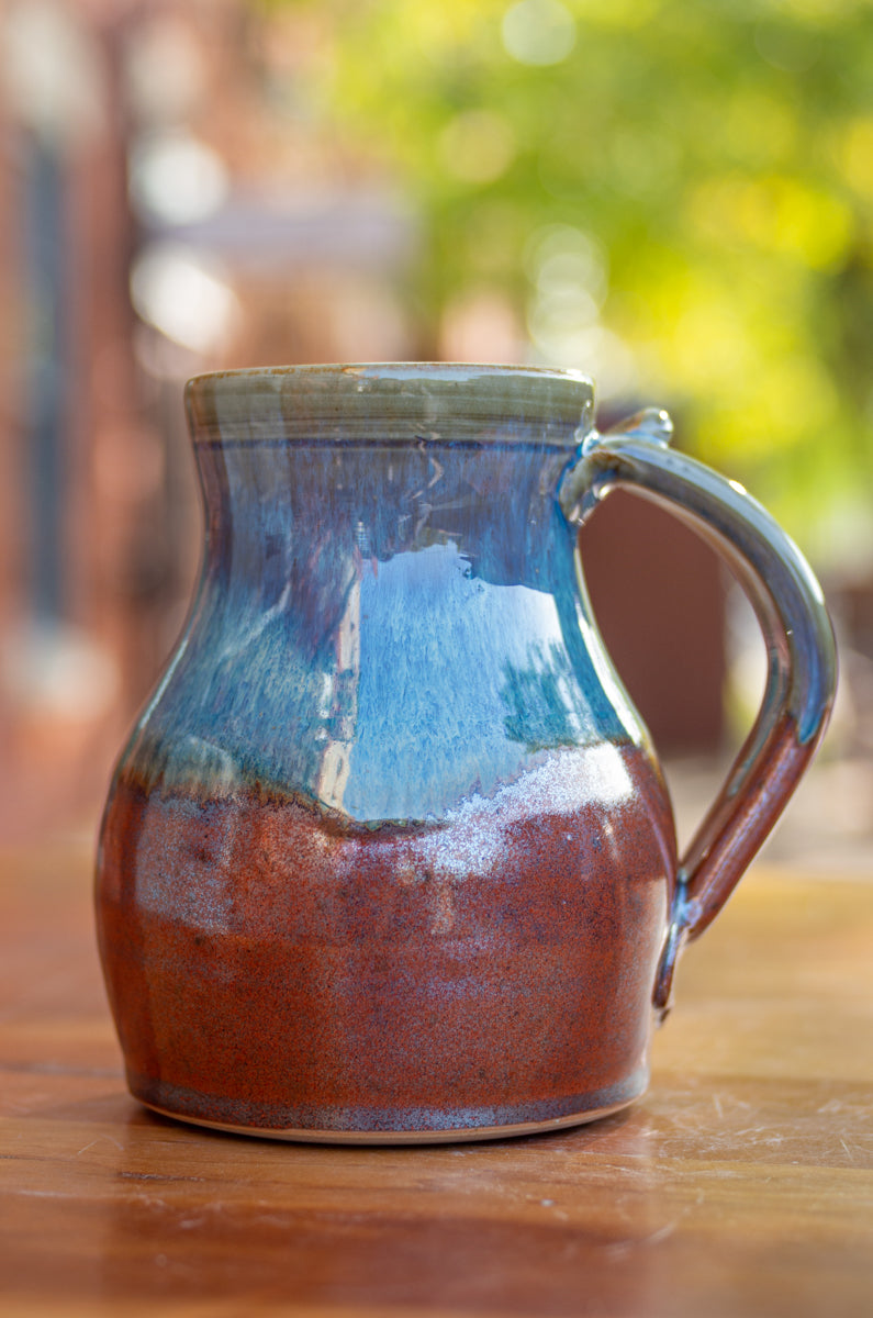 Mark's Mug in Breakfast Blue and Rust Red