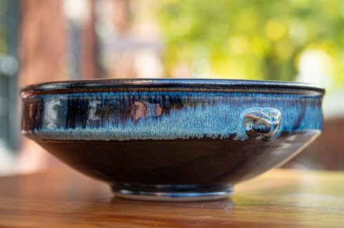 Large Serving Bowl in Breakfast Blue and Black