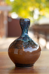 Small Vase in Breakfast Blue and Chocolate Brown