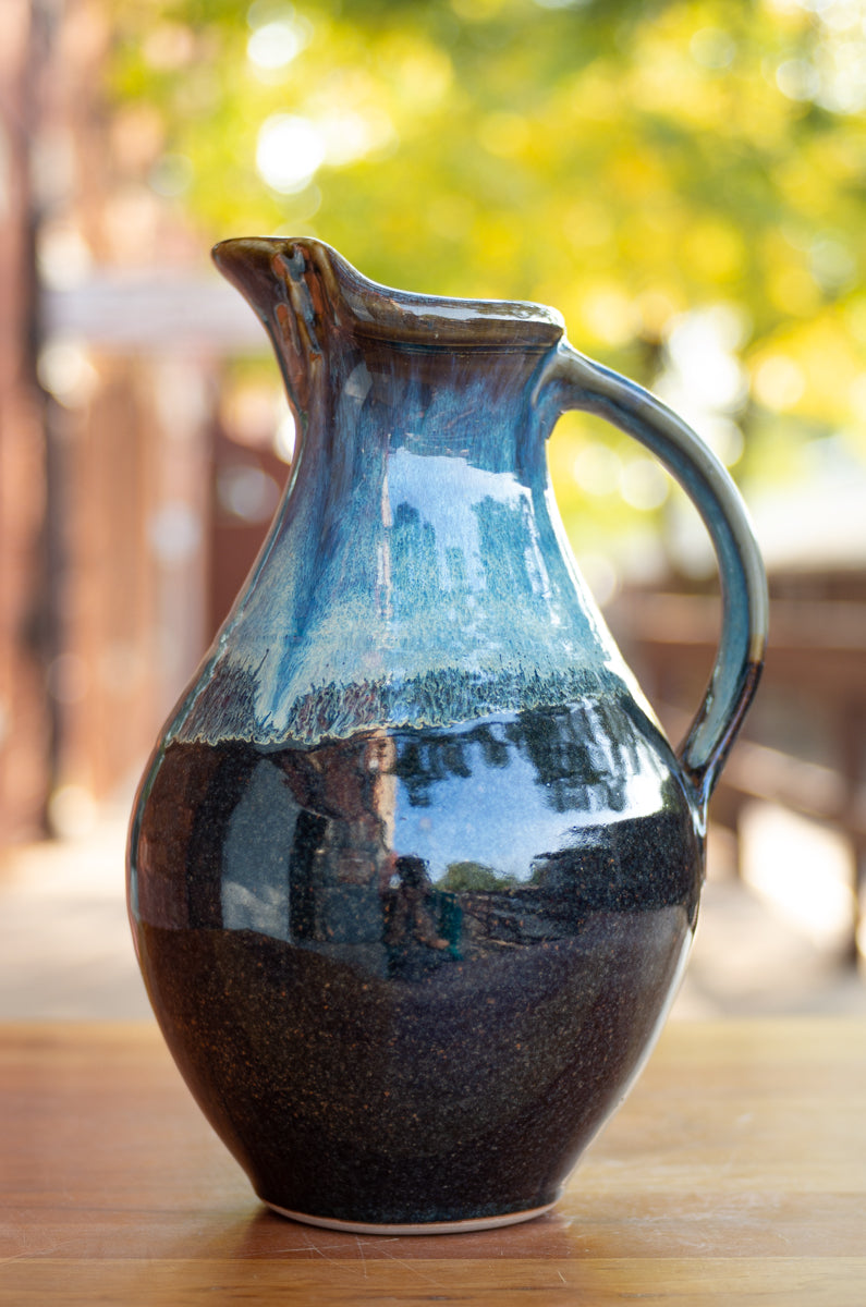 Medium Pitcher in Breakfast Blue and Black