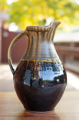 Medium Pitcher in Honey Ash and Black