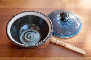 Lidded Pate Dish in Breakfast Blue and Black