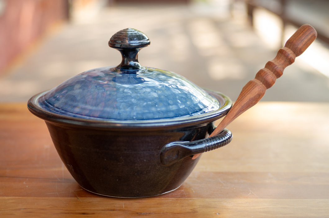 Lidded Pate Dish in Blue Ash and Black