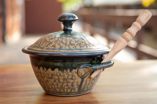 Lidded Pate Dish in Honey Ash and Black