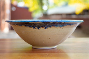 Large Serving Bowl in Wheat and Breakfast Blue