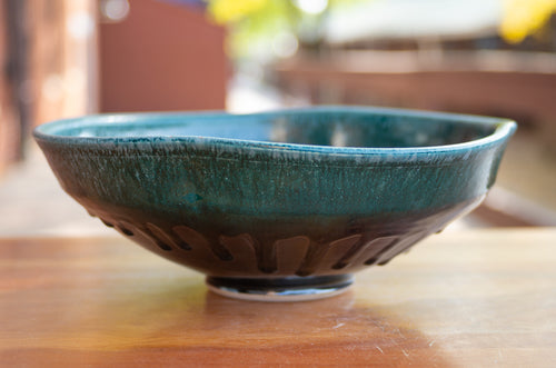 Large Squared Serving Bowl in Teal and Black