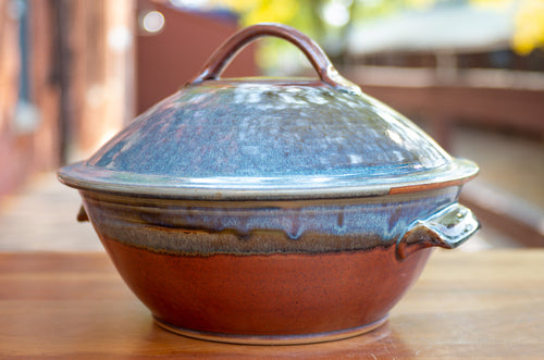 Large Covered Baking Dish in Rust Red and Breakfast Blue