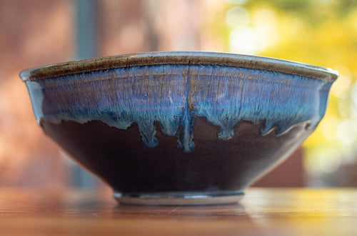 Small Squared Serving Bowl in Ocean Blue and Black