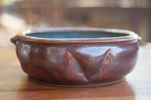 Small Baking Dish in Rust Red and Breakfast Blue