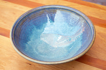 Load image into Gallery viewer, Large Serving Bowl in Breakfast Blue and Rust Red