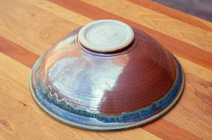 Large Serving Bowl in Breakfast Blue and Rust Red