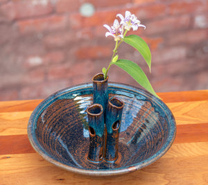 Medium Flower Bowl in Chocolate and Breakfast Blue