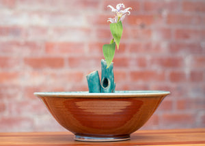 Large Flower Bowl in Turquoise and Rust Red