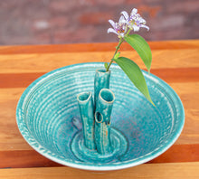 Load image into Gallery viewer, Large Flower Bowl in Turquoise and Rust Red