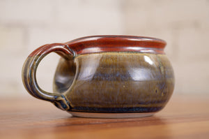 Breakfast Blue and Rust Red Soup Mug