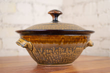 Load image into Gallery viewer, Large Covered Baking Dish in Rust Red and Honey Ash
