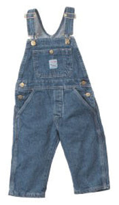 Washed Indigo Blue Denim Overalls