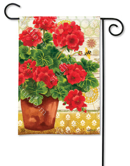 Potted Geraniums Garden Flag