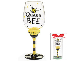 Lovin' Life Queen Bee Wine Glass
