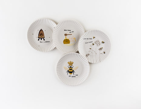 Busy Bee Dessert Plate, Set of 4