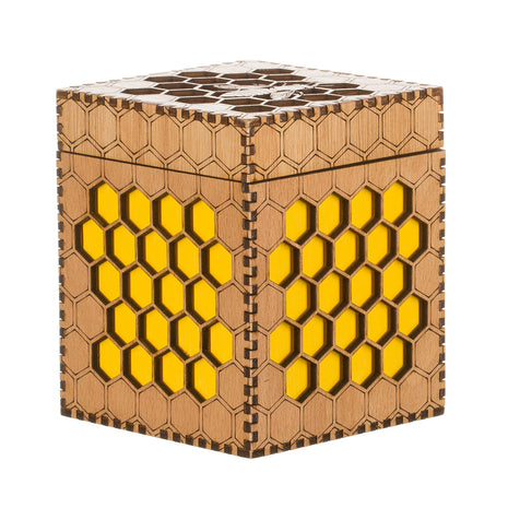 Small Wooden Bee Box in Yellow