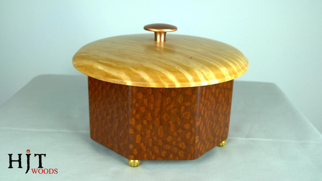 Octagonal Lacewood Box with Curly Maple Top
