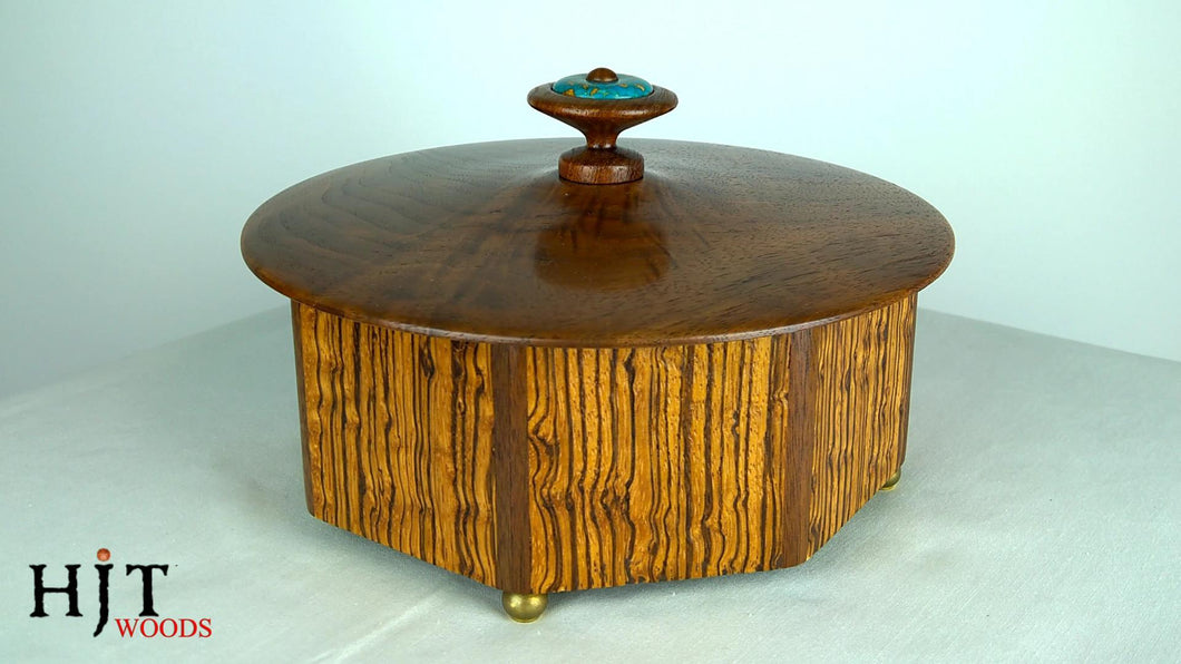 Octagonal Zebrawood Veneered Box