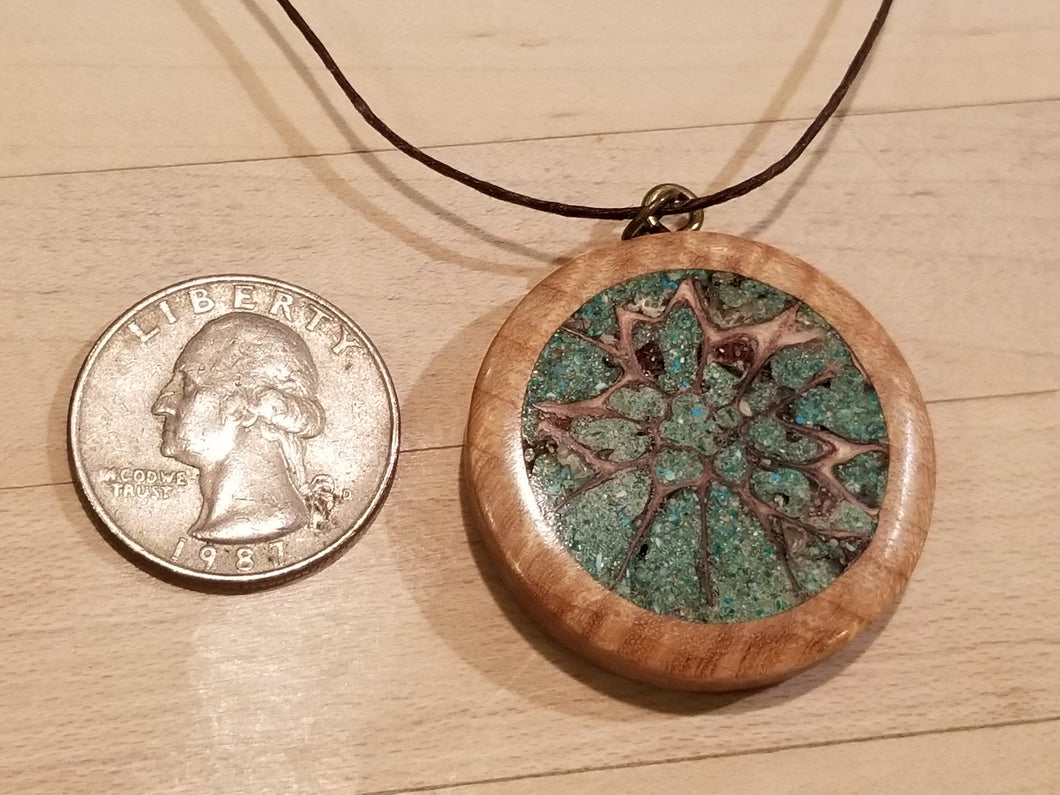 Curly Maple and Green Malachite Stone filled Medallion