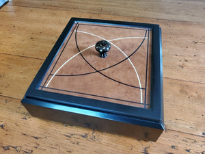Black Lacquered Box with Roble Veneered Panel
