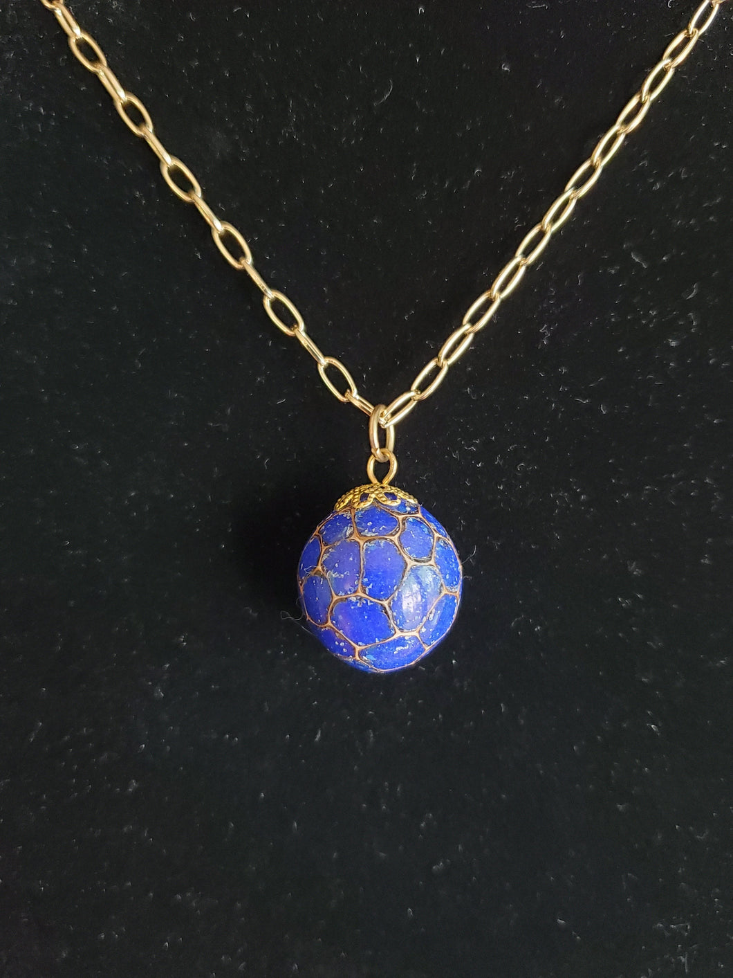 Sweetgum Ball Pendant - Blue Lapis
