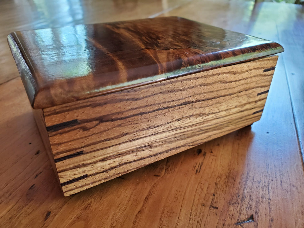 Zebrawood Box with Dyed Spalted Figured Maple Top