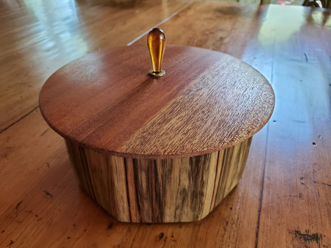 Octagonal Box Made from Spalted Black Limba Top
