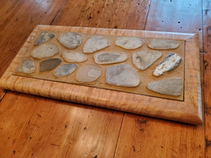 Custom Made Trivet with Curly Maple Frame with Mixed Stone