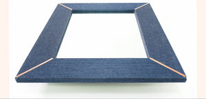 Blue Indigo Grasscloth Frame with Copper Accents