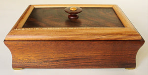 Coved Walnut Box with Sycamore Frame and Figured Walnut Panel
