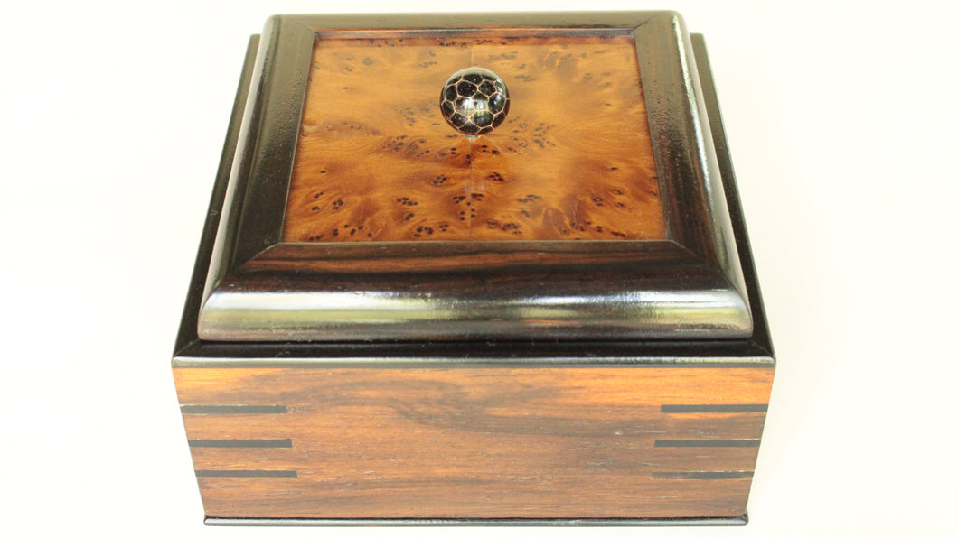 Brazilian Rosewood Veneer Box with Thuya Burl Veneer Panel