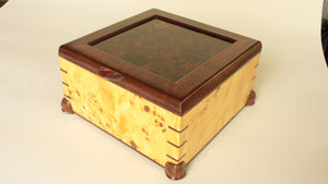 Mappa Burl Veneer Box with Walnut Frame