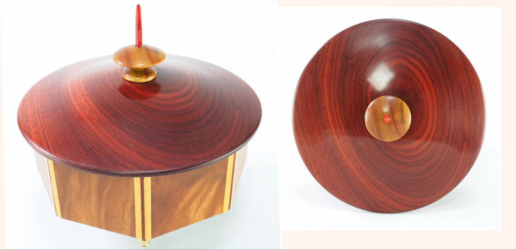 Ceylon Satinwood Octagonal Box with Bloodwood Top
