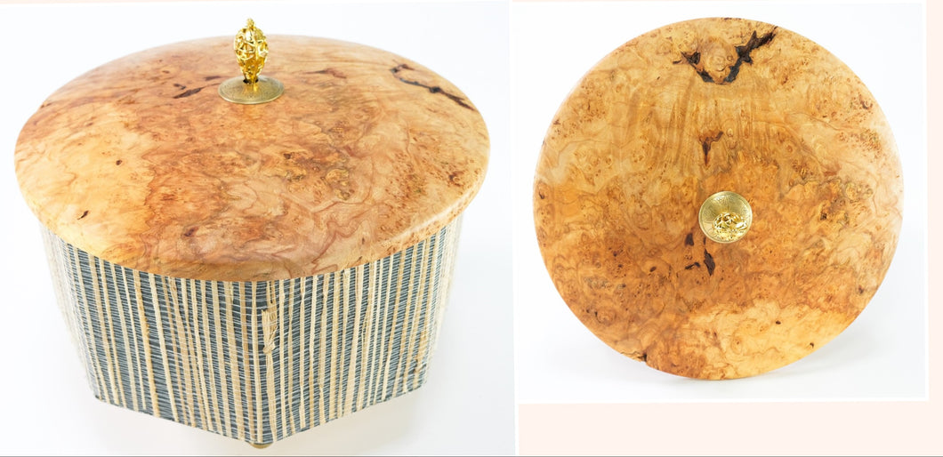 Octagonal Box with Grasscloth and Beautiful Maple Burl top