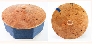 Octagonal Box with Blue Indigo Grasscloth and Maple Burl Top