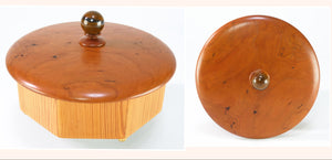 Antique Heart Pine Octagonal Box with Cherry Top