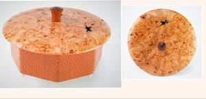 Octagonal Lacewood Box Maple Burl top
