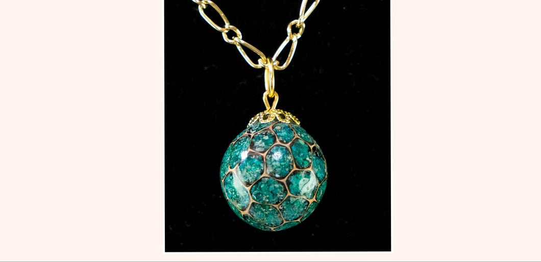 Sweetgum Ball Pendant - Green Malachite