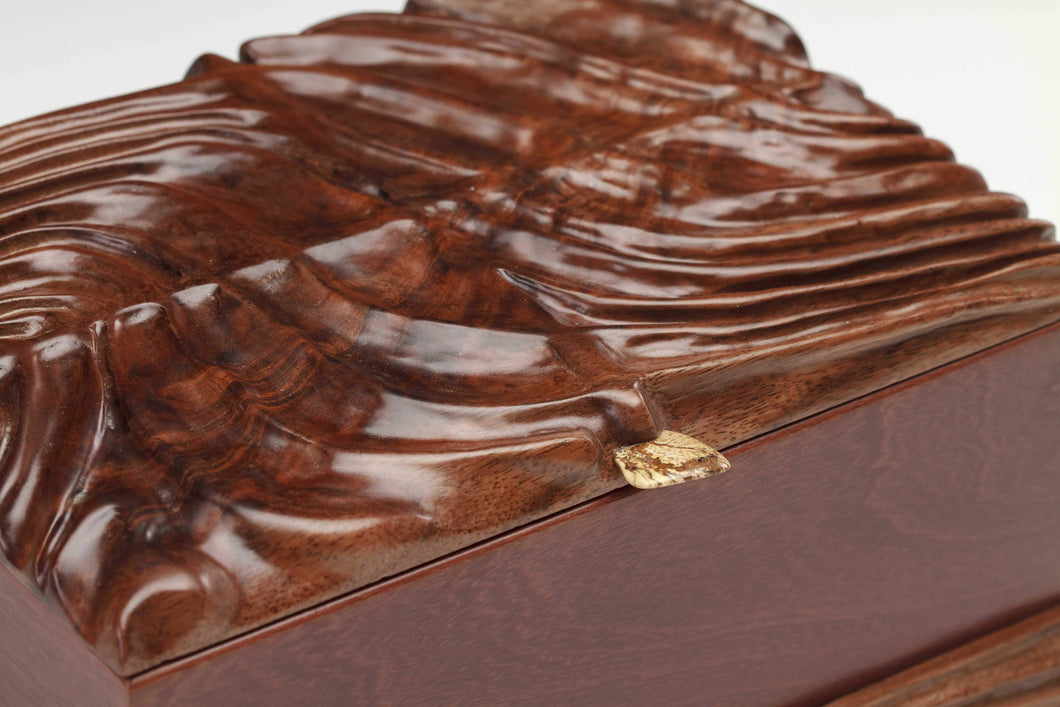 Amazon Rosewood Box with Hand Carved Claro Walnut Top
