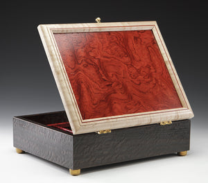 Jewelry Box - Smoked Eucalyptus and Bubinga/Figured Maple/Bloodwood Inlay